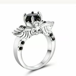 Jewelry - 10k Gothic Winged Skull Black Sapphire Ring